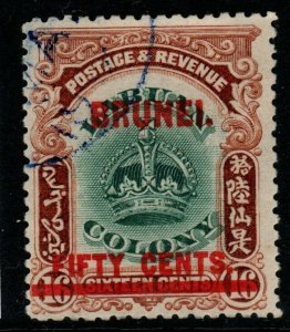 BRUNEI SG21 1906 50c on 16c GREEN & BROWN FINE USED