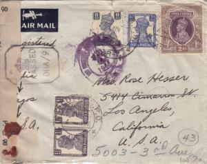 1944, Calcutta, India to Los angeles, CA, Fwd, Censored, See Remark (C1319)