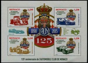 HERRICKSTAMP NEW ISSUES MONACO Sc.# 2806 Auto Club Sheetlet