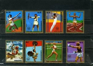 PARAGUAY 1975 SUMMER OLYMPIC GAMES MONTREAL SET OF 8 STAMPS MNH