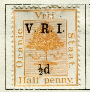 ORANGE FREE STATE; 1900 early QV V.R.I. Optd surcharged issue Mint 1/2d. value