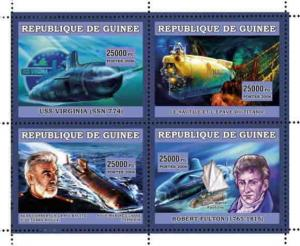 Guinea - Submarines on Stamps -  Sheet of 4 7B-113