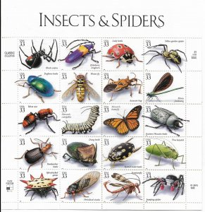 USA 3351 MNH SHEETS INSECTS & SPIDERS