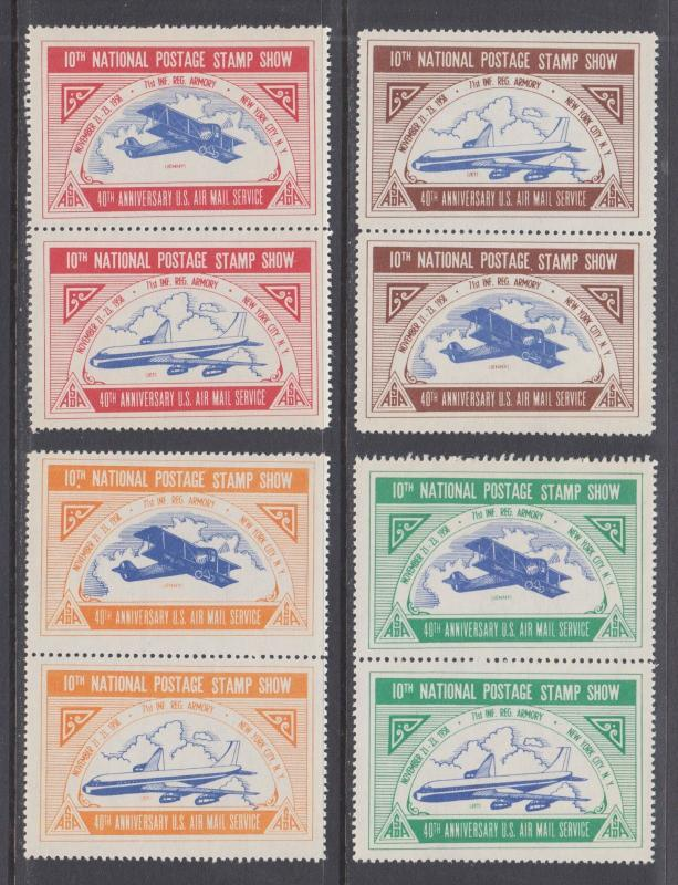 US MNH. 1958 ASDA Labels, perforated vertical pairs, bicolor biplanes, cplt set