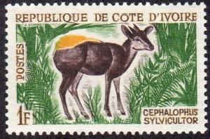 Ivory Coast 201 - Mint-H - 1fr Yellow-backed Duiker (1964) (cv $0.75) (2)
