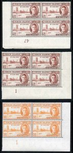 Virgin Islands SG122/3 1946 Victory Plate Blocks of Four (both of the 1 1/2d) U