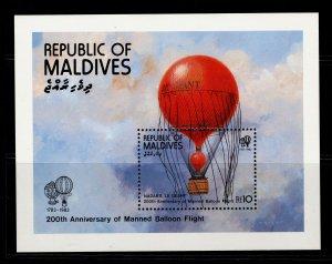 MALDIVE ISLANDS QEII SG MS996, 1983 manned flight mini sheet, NH MINT.