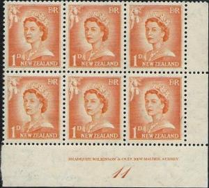 NEW ZEALAND 1955 1d large figures plate block # 11 MNH.....................50875