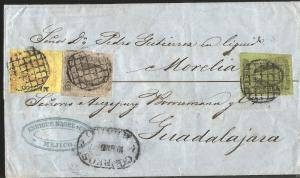 J) 1863 MEXICO, FOUR REALES + TWO REALES + ONE REAL, MULTIPLE STAMPS, CIRCULATED