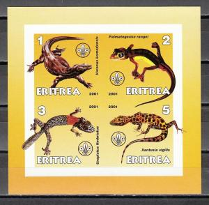 Eritrea, 2001 Cinderella issue. Lizards on an IMPERF sheet of 4. Scout logo.