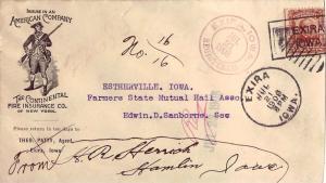 United States Iowa Exira Registered 1908 violet serifed double ring, box kill...