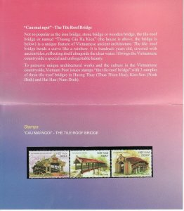 N.1019-Vietnam Tiled roof bridge set 3 2012 MNH, in original Vietnam Post Folder