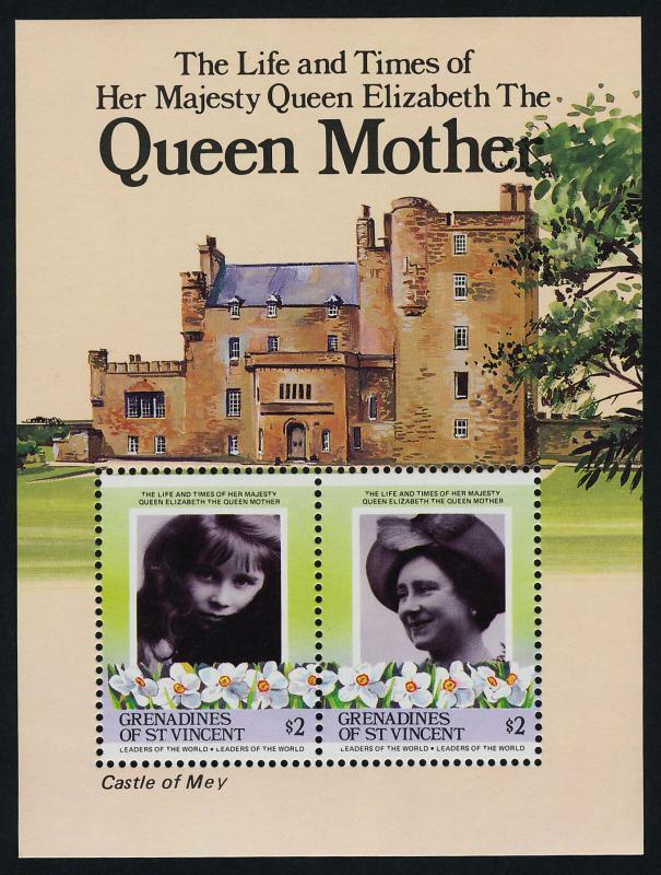 St Vincent Grenadines 500-500b MNH Queen Mother 85th Birthday, Flowers, Animals