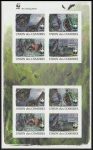Comoro Is. WWF Livingstone's Fruit Bat Imperforated Sheetlet of 2 sets / 8