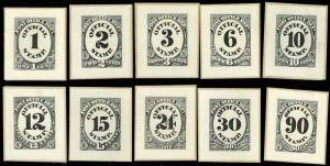 O47-O56P2, COMPLETE SET OF SMALL DIE PROOFS XF SET