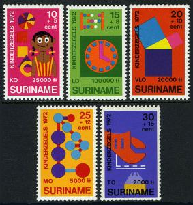 Surinam B187-B191, MNH. Child welfare .Different stages of education, 1972