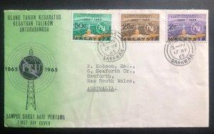 1965 Kuching Sarawak Malaysia First Day Cover FDC To Australia ITU Centenary
