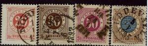 Sweden SC#46-49 Used F-VF hr SCV$11.00....A World of Stamps!