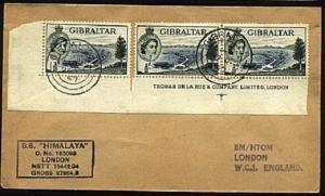 GIBRALTAR 1957 cover SS Himalaya ship cachet.......................98279
