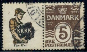 DENMARK (RE32) 5ore brown K.K.K.K. advertising pair, used