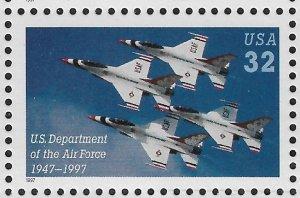 US Aviation 1997 Air Force,Warplanes Thunderbirds Squadron,Scott # 3167,VF MNH**