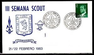 Spain, 21-22/FEB/83. III Semana Scout cancel on Cachet Cover. ^