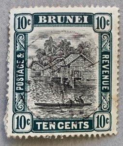 Brunei 1907 10c used, nice cancel.  Scott 25, CV $5.00, SG 29