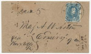 CSA Scott #4 Stone 3 Pos 30 Tied to Coverby Atlanta, GA CDS June 24, 1862 Due 5