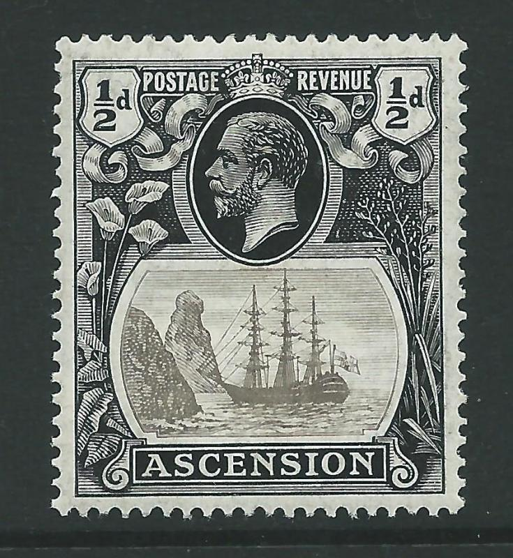 ASCENSION SG10b 1924 ½d GREY-BLACK & BLACK TORN FLAG MTD MINT