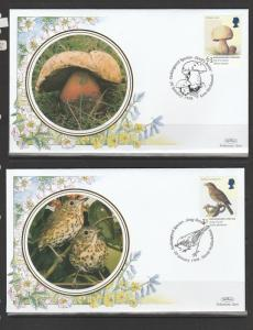GB FDC 1998 Endangered Species set of 6 small silks by Benham, special cancels