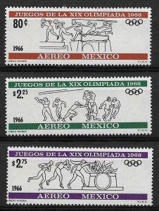 1966 Mexico C318-320 Summer Olympics MH