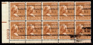 US STAMP 805  1938 1 1/2c Martha Washington, brown PRECANCEL MNH BLK OF 10 PL#
