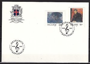 Iceland, Scott cat. 743-744. Composer & Artist issue. First day cover. ^