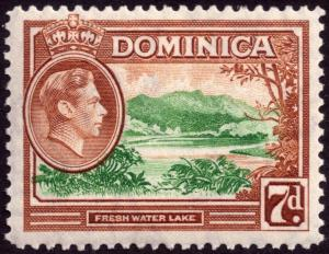Dominica 1947 7d Green and Yellow-Brown SG 105a MNH