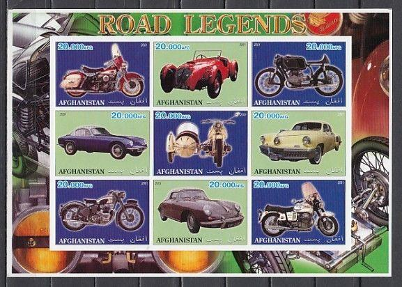 Afghanistan, 2001 Cinderella issue. Motorcycles & Autos, IMPERF sheet of 9.
