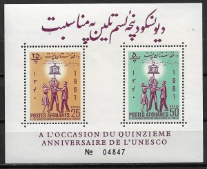 1962 Afghanistan 558-9 UNESCO MNH perf. S/S
