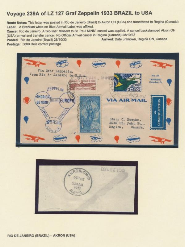 LZ127 ZEPPELIN FLIGHT COVER BRAZIL - AKRON, OH TO REGINA, CANADA HV9199