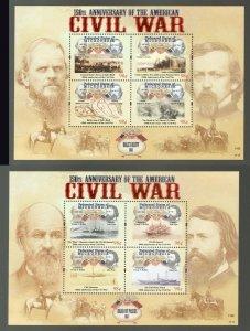 921-922 Micronesia / 150th Anniversary Civil War - 2 souvenir sheets- superfleas