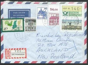 GERMANY 1988 Registered airmail cover to New Zealand - nice franking.......11265