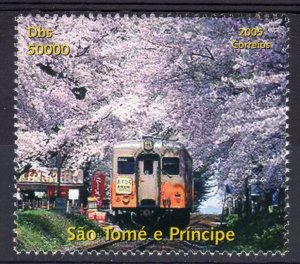 Sao Tome and Principe 2005 JAPANSE TRAINS (1) Air Mail Perforated MNH