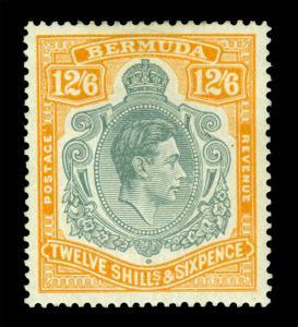 BERMUDA  1938  KGVI  12sh6p  orange & gray Scott # 127a mint MH VF