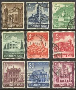 Germany Sc# B177-B185 Used 1940 3+2pf-40+35pf Buildings