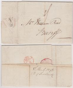 Scotland - 1792 Stampless Folded Letter from B. of Scotland Edinburgh to Banff