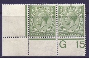 N14(9) ½d Dull Yellow (Apple) Green Control G 15 perf MOUNTED MINT