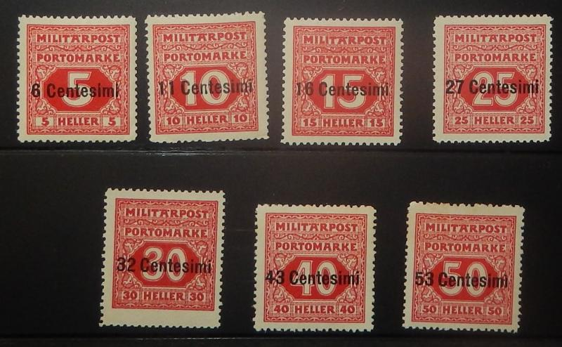 Italy NJ1-7. 1918 6c on 5h - 53c on 50h Postage Due, NH