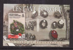 BIOT-Sc#360-unused NH sheet-End of WWI-Wreath of Remembrance-2008-