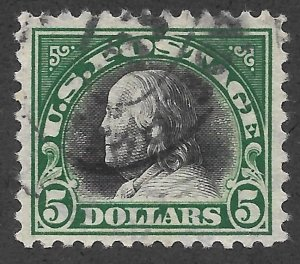 Doyle's_Stamps: Clean Postally Used $5.00 Franklin Scott #524 -- Strong Color