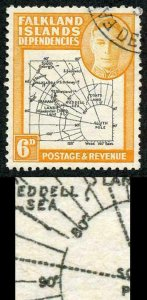Falkland Is Deps SG G6a 6d Thick Map Gap in 80th Parallel Fine used