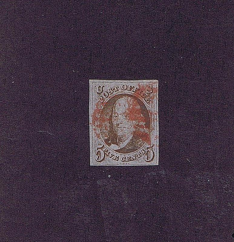 SC# 1 USED 5 CENT FRANKLIN, 1847, RED CANCEL PRE PRINTING PAPER CREASE