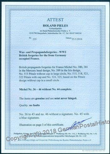 British Propaganda Forgery Mi36-46 MNH France Germany Photo Cert 94666